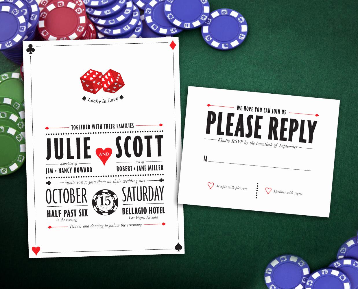 Vegas themed Invitation Templates Best Of Lucky In Love Las Vegas Wedding Invitation