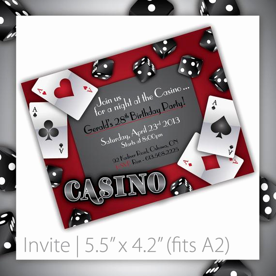 Vegas themed Invitation Templates Elegant Casino Party Invitations Gamble Love by Blackcherryprintable