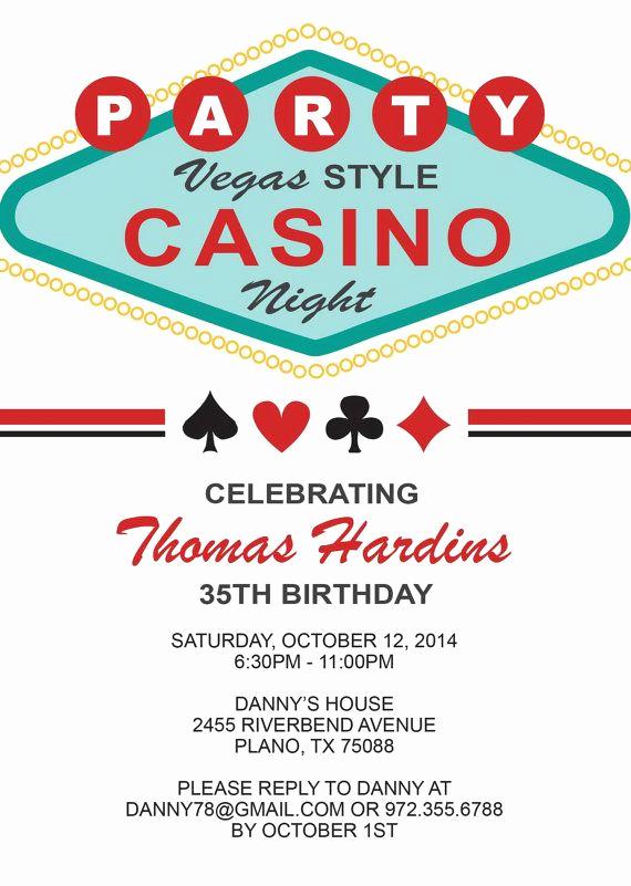 Vegas themed Invitation Templates Inspirational Las Vegas Casino Birthday Invitation for An Adult Birthday