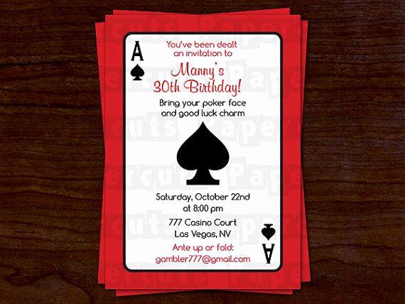 Vegas themed Invitation Templates Lovely Casino Night Poker theme Birthday Party Invitation