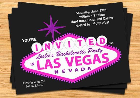 Vegas themed Invitation Templates Lovely Las Vegas Bachelorette Party Invitation Wedding Invitation