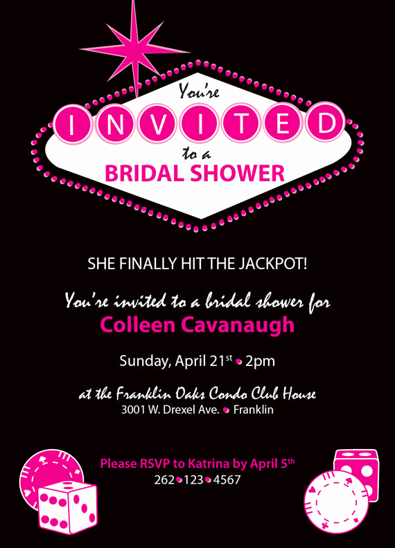 Vegas themed Invitation Templates Luxury Vegas Gambling themed Customizable Bridal Shower