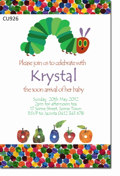 Very Hungry Caterpillar Invitation Template Awesome Cu926 Hungry Caterpillar Baby Shower Invitaiton Baby