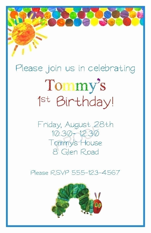 Very Hungry Caterpillar Invitation Template Awesome Very Hungry Caterpillar Invitations