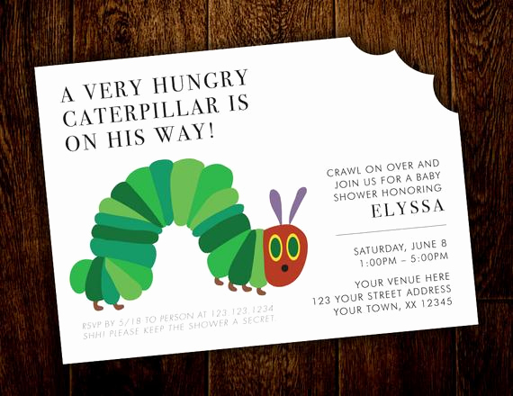 Very Hungry Caterpillar Invitation Template Luxury Hungry Caterpillar Baby Shower Invitation Printable Digital