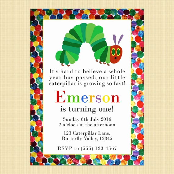 Very Hungry Caterpillar Invitation Template Luxury the Very Hungry Caterpillar Birthday Invitation Card Hungry