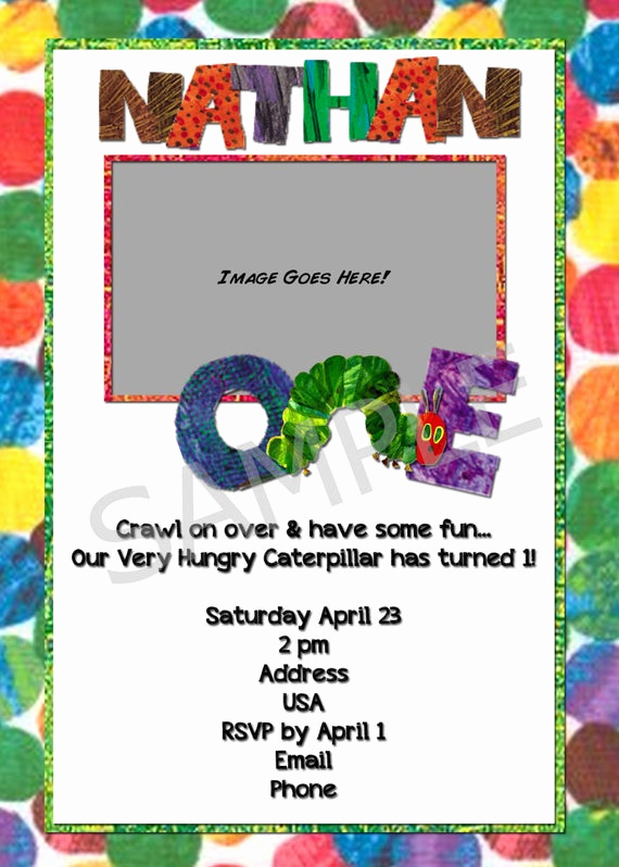Very Hungry Caterpillar Invitation Template New Items Similar to Very Hungry Caterpillar Invitation On Etsy
