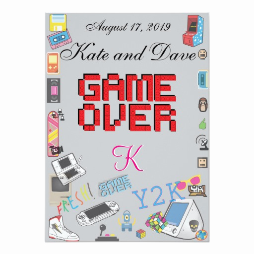 "Video Game Wedding Invitation Best Of Video Game theme Wedding Invitation 5"" X 7"" Invitation"