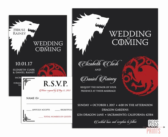 Video Game Wedding Invitation Inspirational Geek Wedding Invitation Set Game Of Thrones Wedding