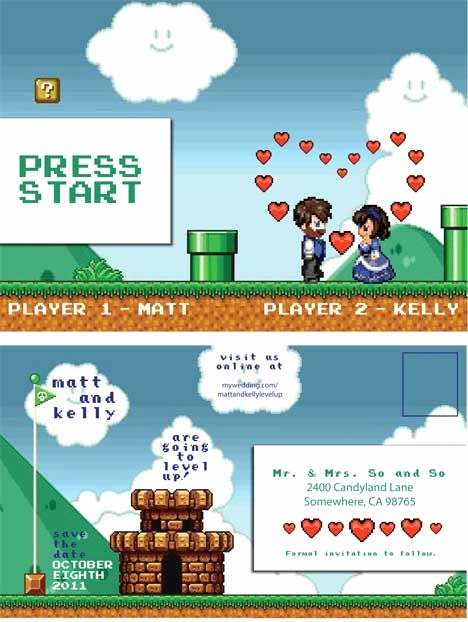 "Video Game Wedding Invitation Luxury Cute ""video Game"" themed Wedding Love the Response Cards"