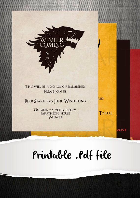 Video Game Wedding Invitation New Printable Game Of Thrones Wedding Invitation by Geekandart