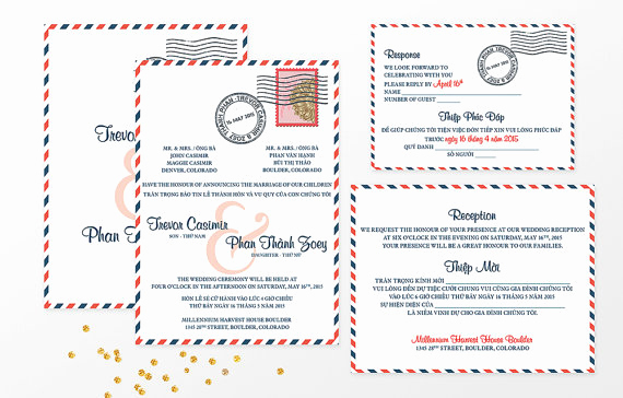 Vietnamese Wedding Invitation Template Elegant Vietnamese Airmail Bilingual Wedding Invitation
