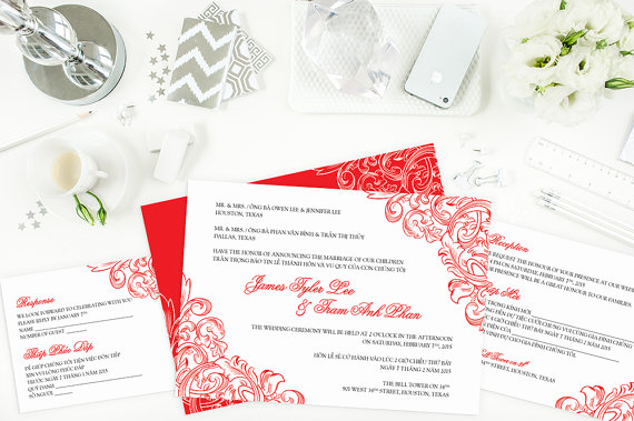 Vietnamese Wedding Invitation Wording Awesome Bilingual Vietnamese Wedding Invitation Set Invitation