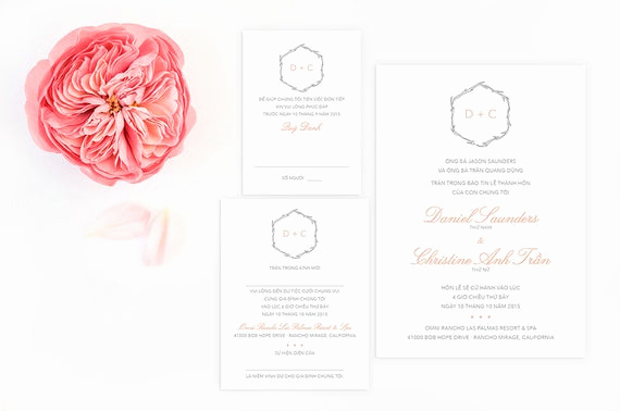 Vietnamese Wedding Invitation Wording Beautiful Vietnamese Wedding Invitation Reception by