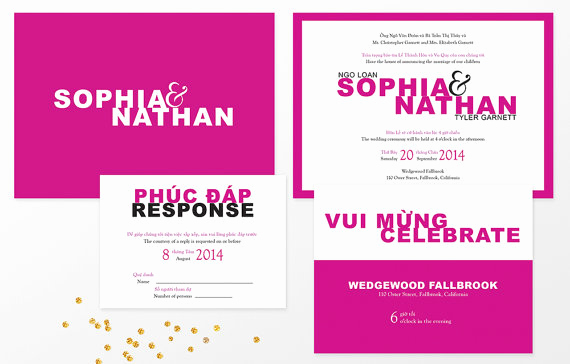 Vietnamese Wedding Invitation Wording Elegant Modern Vietnamese Bilingual Wedding Invitation – Party