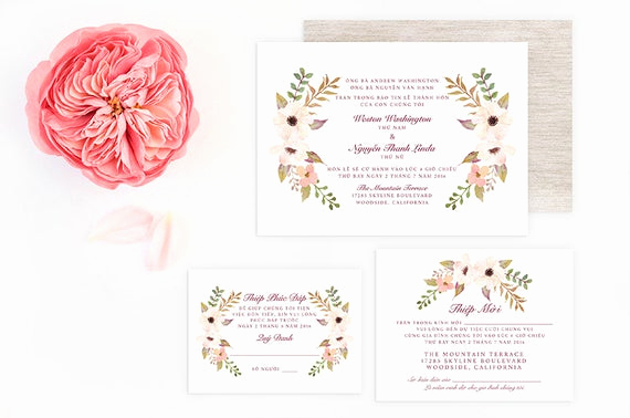 Vietnamese Wedding Invitation Wording Fresh Vietnamese Wedding Invitation Reception and Rsvp