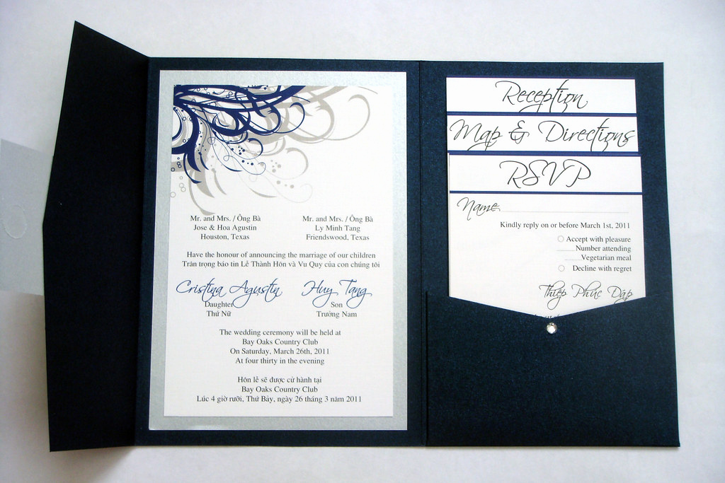 Vietnamese Wedding Invitation Wording Inspirational Blue Navy and Silver Vietnamese Wedding Invitations