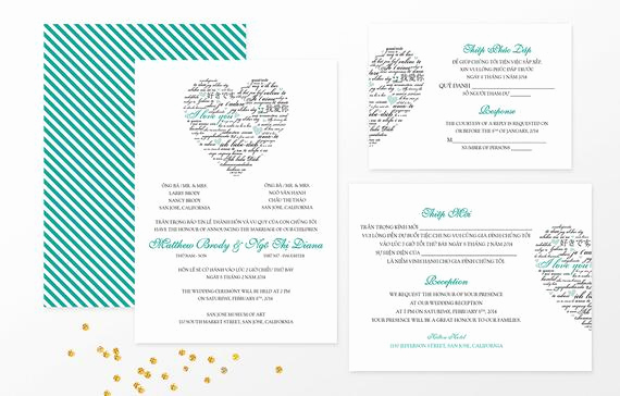 Vietnamese Wedding Invitation Wording Inspirational Sample Bilingual Vietnamese Wedding Invitation Set Love