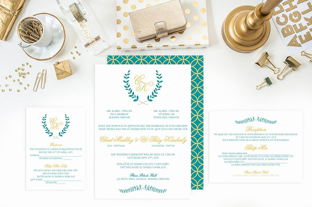 Vietnamese Wedding Invitation Wording Inspirational Wedding Invitation Set Bilingual Vietnamese Invitation