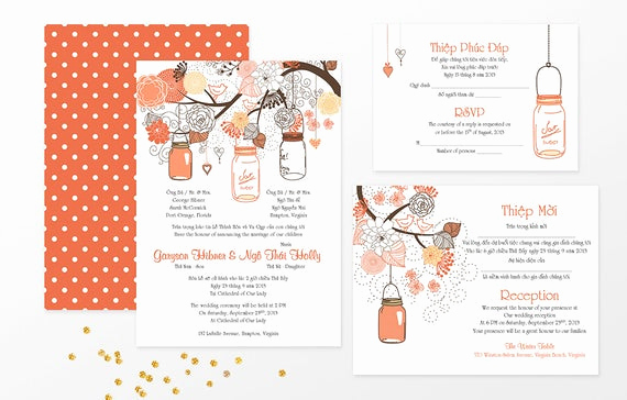 Vietnamese Wedding Invitation Wording Lovely Sample Bilingual Vietnamese Wedding Invitation Set Mason Jar