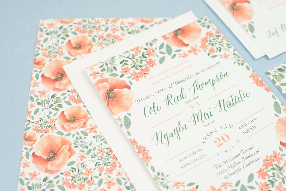 Vietnamese Wedding Invitation Wording Luxury Vietnamese Wedding Set Invitation Reception Rsvp Diy