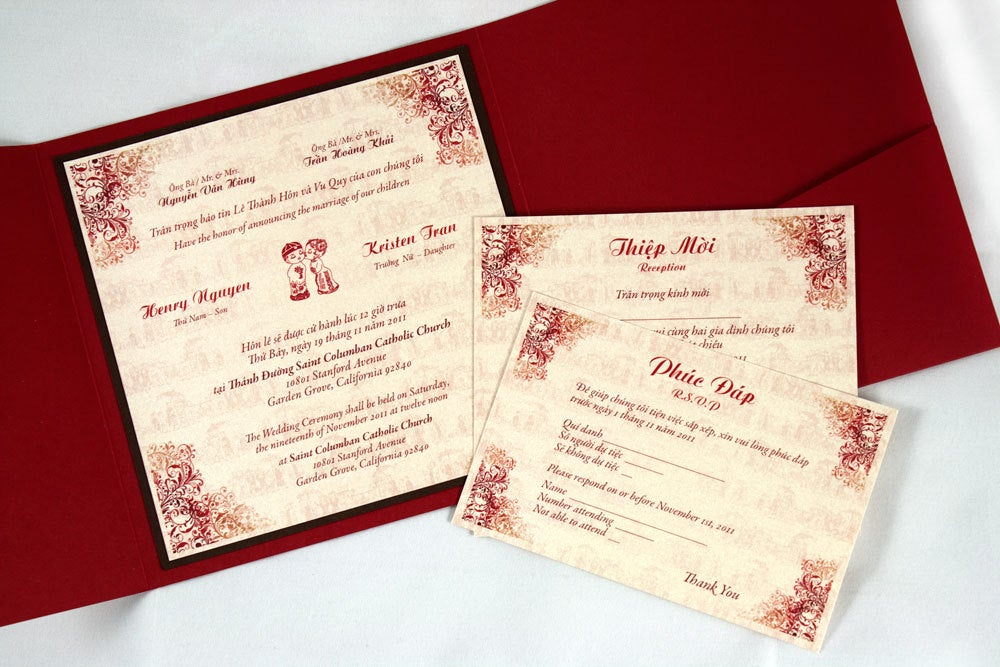 Vietnamese Wedding Invitation Wording New Bilingual English and Vietnamese Tradition Wedding Invitations