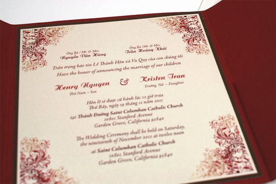 Vietnamese Wedding Invitation Wording Unique for Kelly Bilingual English and Vietnamese oriental