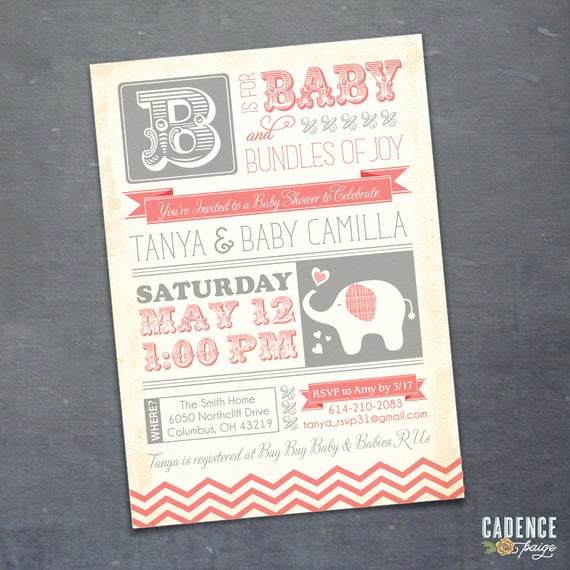 Vintage Baby Shower Invitation Awesome Baby Shower Invitation Elephant Baby Shower Vintage Baby
