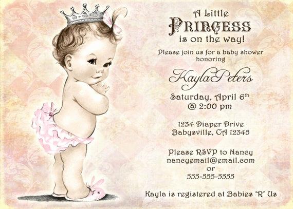 Vintage Baby Shower Invitation Awesome Vintage Baby Shower Invitation for Girl Princess Crown