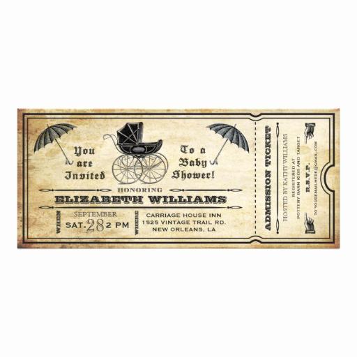 Vintage Baby Shower Invitation Awesome Vintage Baby Shower Ticket Invitation