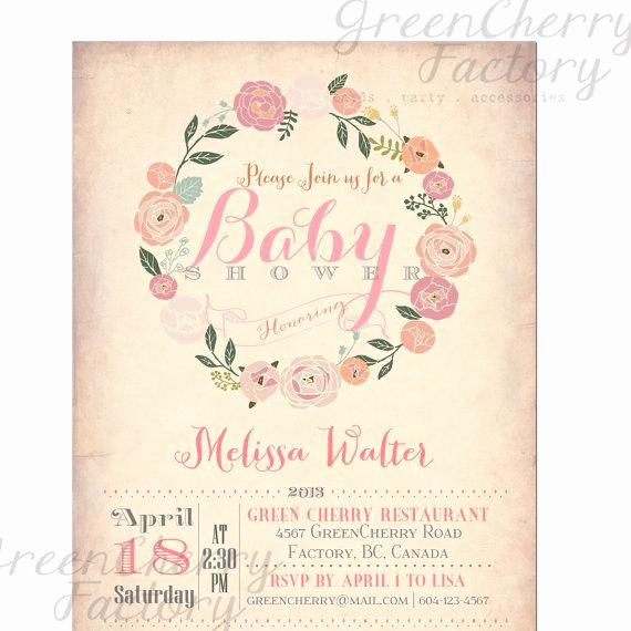 Vintage Baby Shower Invitation Elegant Baby Shower Invitation Vintage Peach Background Wreath