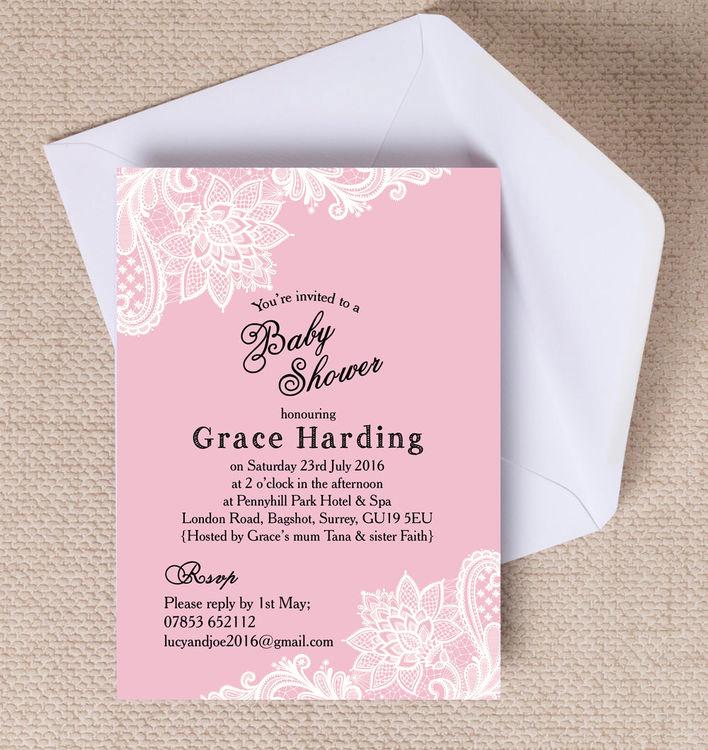Vintage Baby Shower Invitation Elegant Pink & White Vintage Lace Baby Shower Invitation From £0