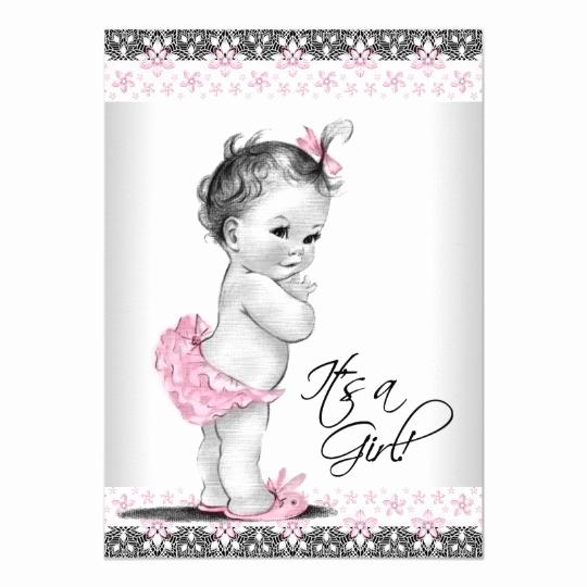 Vintage Baby Shower Invitation Elegant Vintage Pink and Gray Baby Girl Shower Invitation