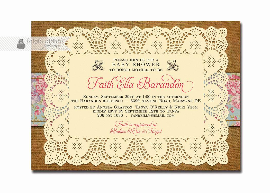 lace burlap baby shower invitation