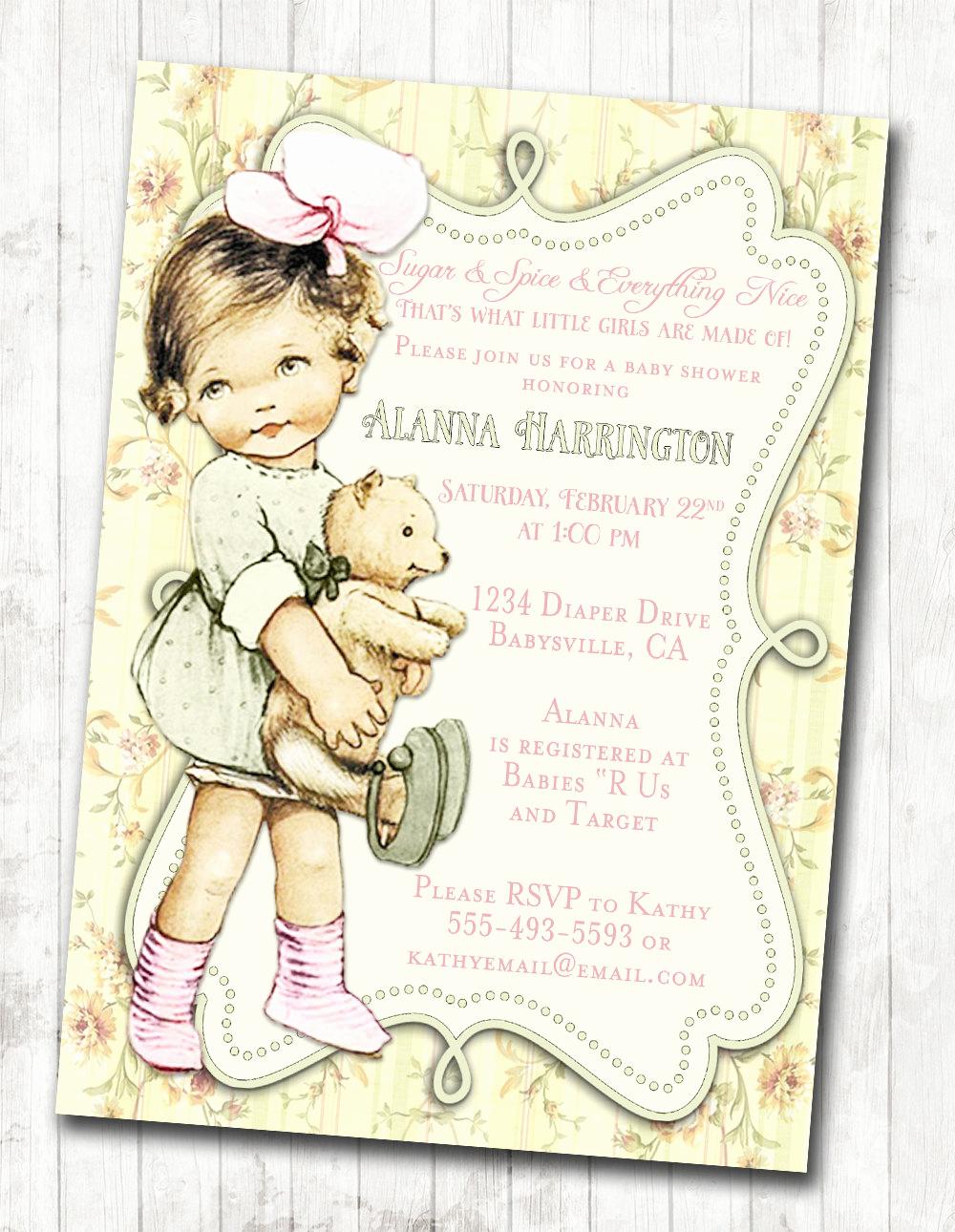 Vintage Baby Shower Invitation Inspirational Shabby Chic Floral Vintage Baby Shower Invitation for Girl
