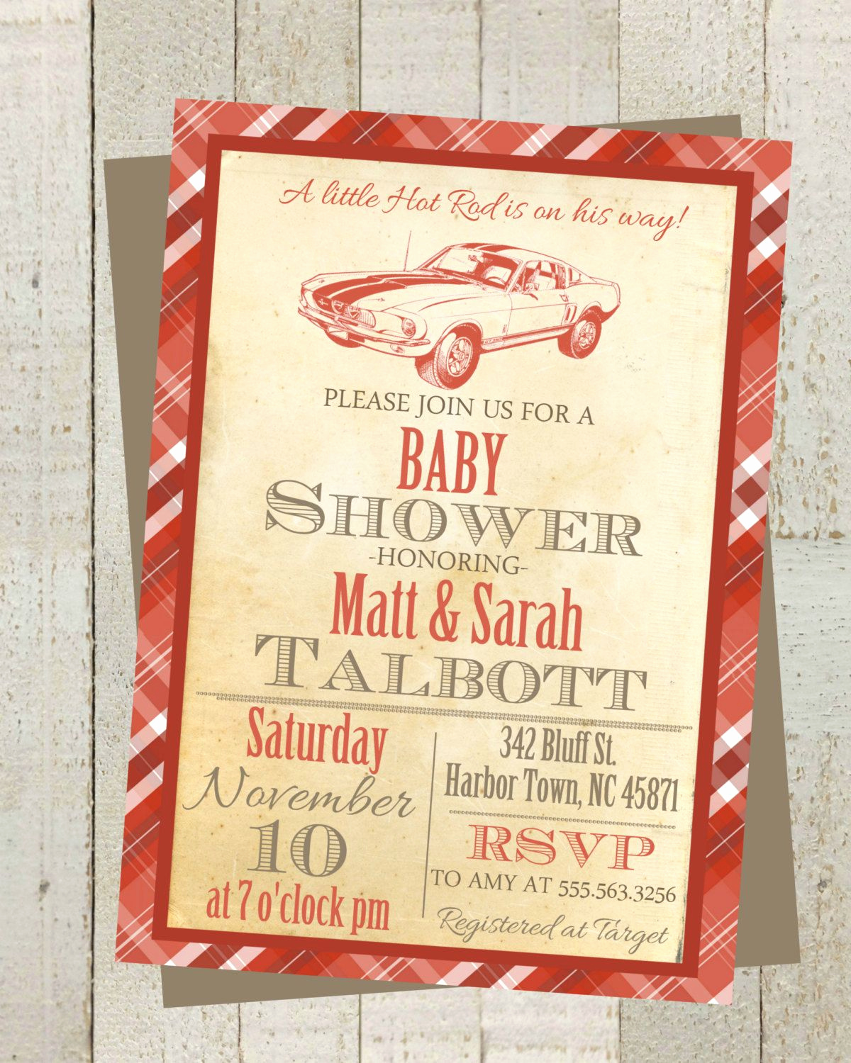 Vintage Baby Shower Invitation Lovely Little Hot Rod Vintage Baby Shower Invite Invitation with