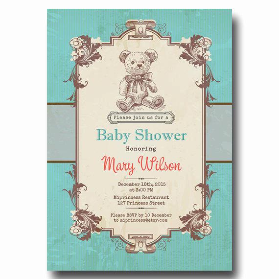 Vintage Baby Shower Invitation Luxury Vintage Bear Baby Shower Invitation Baby From Miprincess