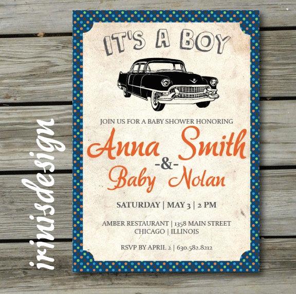 Vintage Baby Shower Invitation Luxury Vintage Car Baby Shower Invitation Boy Baby Shower