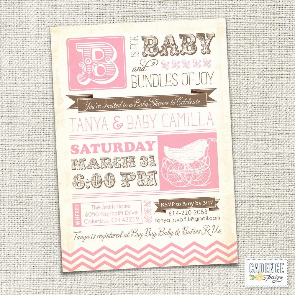 Vintage Baby Shower Invitation New Baby Shower Invitation Baby Carriage Vintage Baby Shower