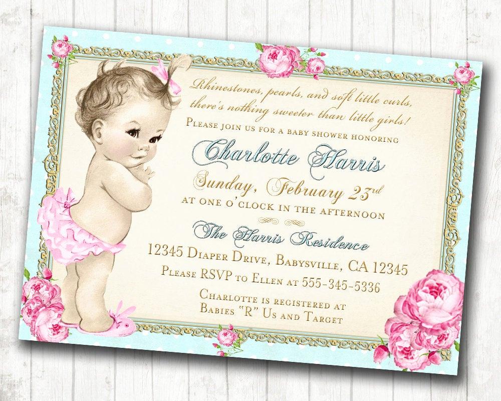 Vintage Baby Shower Invitation New Girl Baby Shower Invitation Shabby Chic Floral Vintage Baby