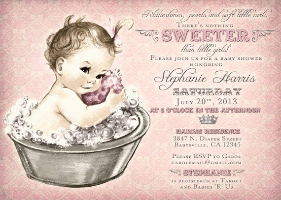 Vintage Baby Shower Invitation Unique Vintage Baby Shower Invitation for Girl Baby Bath Pink