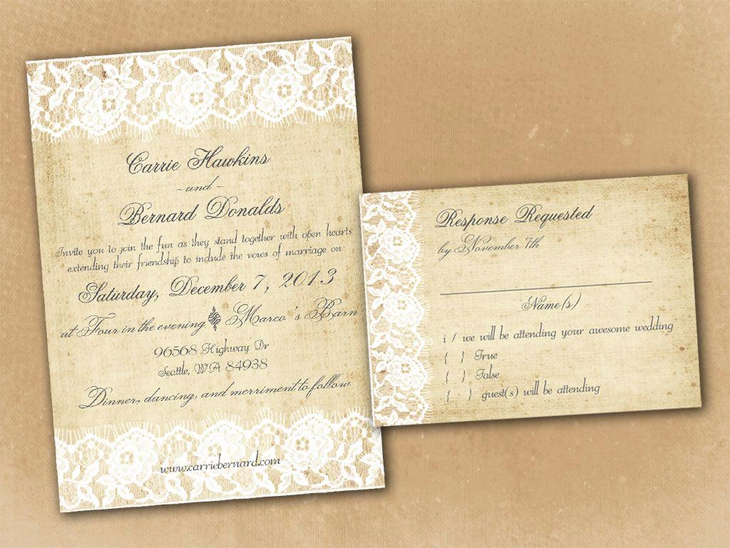 Vintage Wedding Invitation Templates Elegant Vintage Rustic Wedding Invitation Templates
