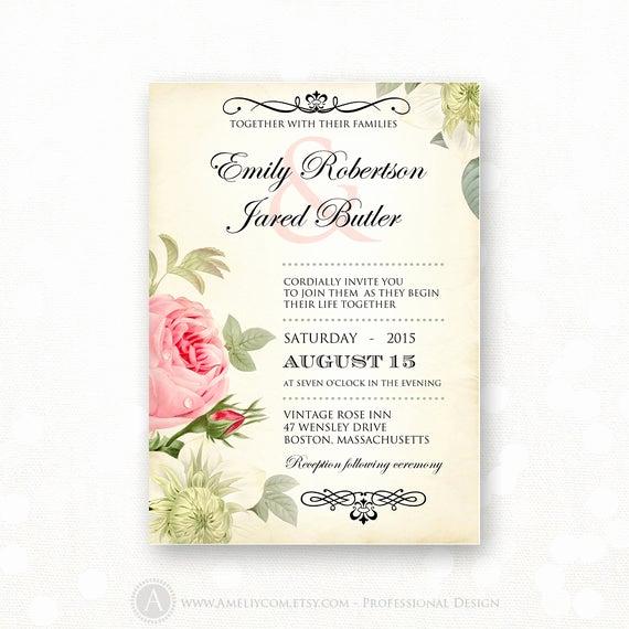 Vintage Wedding Invitation Templates Inspirational Printable Wedding Invitation Pink Roses Vintage Weddings