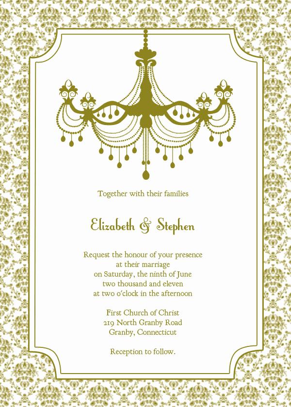Vintage Wedding Invitation Templates Inspirational Vintage Chandelier Wedding Invitation Template – Free