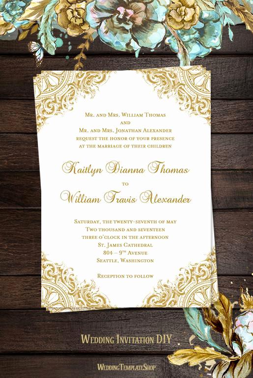 Vintage Wedding Invitation Templates Inspirational Vintage Wedding Invitation Gold Wedding Template Shop