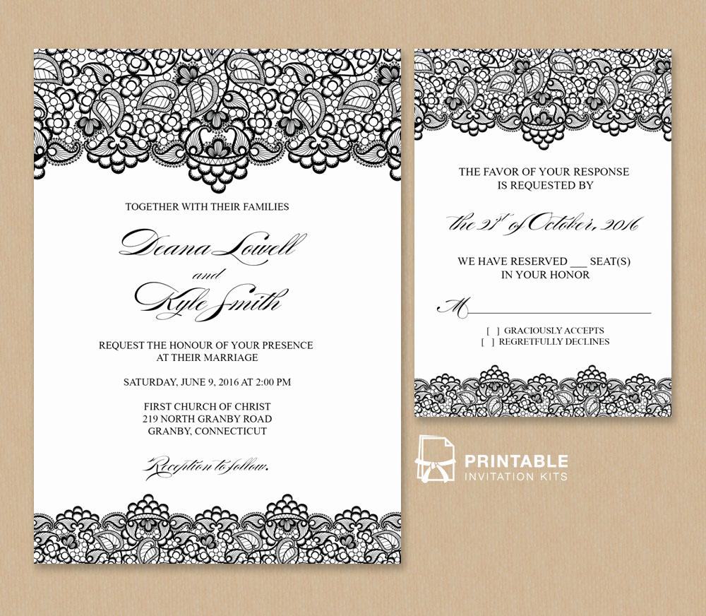 Vintage Wedding Invitation Templates Lovely Black Lace Vintage Wedding Invitation and Rsvp ← Wedding