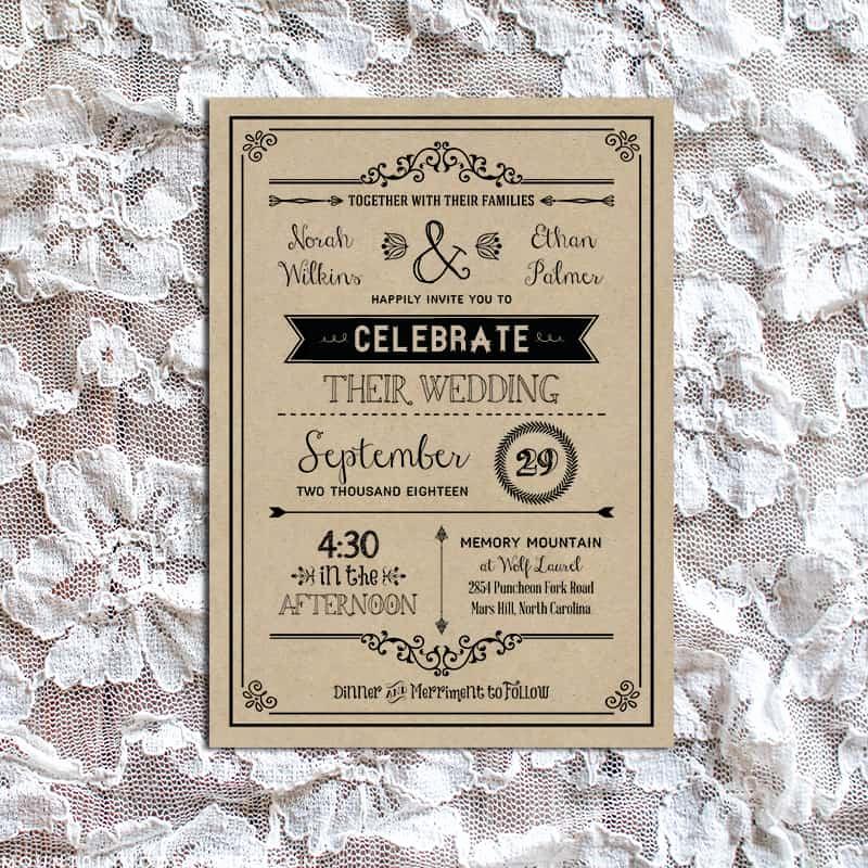 Vintage Wedding Invitation Templates New Vintage Rustic Diy Wedding Invitation Template