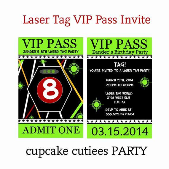 Vip Pass Invitation with Lanyard Beautiful Vip Laser Tag Fun Vip Lanyard Badge Custom Invites Digital