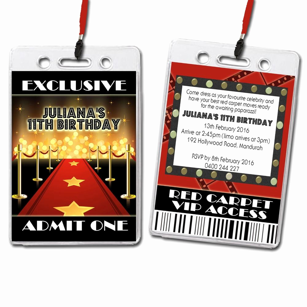 Vip Pass Invitation with Lanyard Best Of Hollywood Red Carpet Vip Lanyard Birthday Invitation