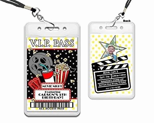 Vip Pass Invitation with Lanyard Elegant Amazon Movie Night Vip Pass Lanyard Birthday
